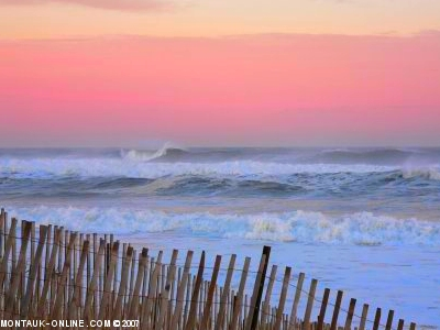 Heavy surf on a beautiful evening at the beach in Montauk, NY